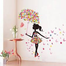 sworna nature series sn 50 lovely flower girl with umbrella removable vinyl diy wall art mural sticker decal decor for bedroom living  on girl with umbrella wall art with sworna nature series sn 50 lovely flower girl with umbrella