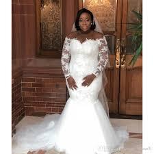Wedding Dress Plus Size Chart 2019 African Mermaid Wedding Dresses Plus Size Long Sleeves Off Shoulder Vintage Lace Sheer Tulle Sweep Train Bride Dresses De Noiva Different Wedding