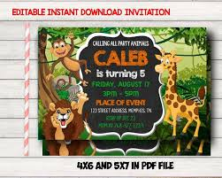 Jungle Theme Birthday Invitations Jungle Birthday Invitation Jungle Invitations Jungle Party Invitation Jungle Theme Birthday Party Animal Birthday Invite Animal Party