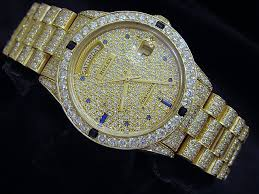 gold diamond watches men best watchess 2017 rolex solid 18k yellow gold day date president blue shire pave