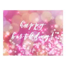 Happy Birthday Glamorous Pink Sparkles Postcard