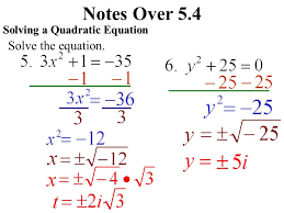 4 notes over 5 4 solving a quadratic equation solve the equation