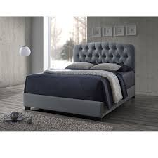 grey upholstered bed king. Baxton Studio Romeo Contemporary Espresso Button-tufted Grey Upholstered Bed (King Size Bed-Grey) King P
