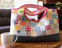 crazy mom quilts: a tinker tote & This bag is big and roomy. I love it! Tara designed the pattern to use a  quilt-as-you-go method, but I wanted to change ... Adamdwight.com