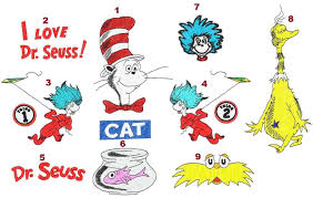 Dr Seuss Embroidery Designs Cat In The Hat Thing 1 2 Sneetch Design Pack 9 Digitized
