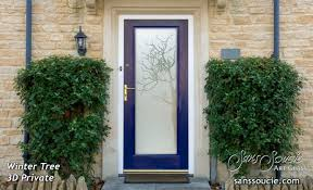 exterior gl door frosted gl rustic decor trees branches