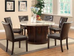 Granite Dining Room Tables Glass Round Dark Brown Wooden Dining Table With Beige Granite Top