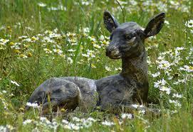 baby deer garden statue in black and bronze finish cast aluminium height 32 cm