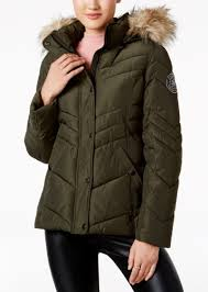 madden girl juniors faux fur trim hooded puffer coat a macy s exclusive