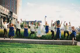 gantry park wedding. bridal party jumping shot at a gantry plaza state park wedding. http:// wedding