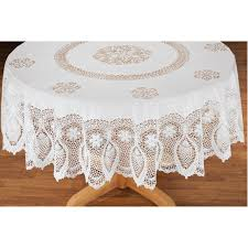 vinyl lace table cover white tablecloth round oval oblong