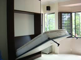 Bedroom:Great Murphy Bed Design With Slide Iron Frame Also Cream Bedroom  Painted Wall Great