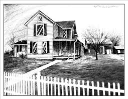 farm fence drawing. Drawing Of The Ander\u0027s New Farm House...ebony Pencil On 3ply Vellum Bristol...11\ Fence N
