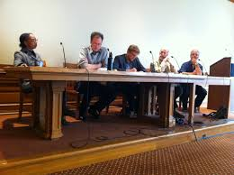 photograph of joseph slaughter and uc berkeley faculty panel at roundtable discussion of slaughter s book