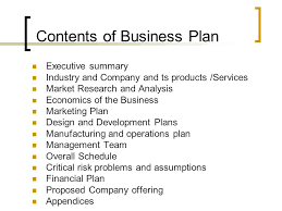 Operation Plan Outline Business Plan Format And Contents Ppt Video Online Download