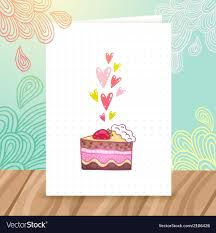 birthday postcard template happy birthday postcard template with cake vector image