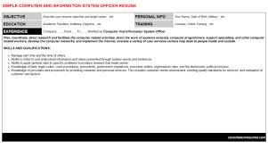 computer and information system officer resume sample information system officer resume
