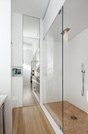 floor to ceiling mirror shower wall storage beautiful floor glass  contemporary bathroom