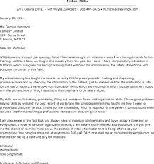 Best Ideas Of Sample Cover Letter For Resume Pharmacy In Pharmacist