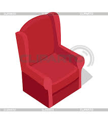 armchair clipart. red armchair vector in isometric projection. comfortable furniture illustration for stores advertising, app icons, infographics, logo, web and games clipart
