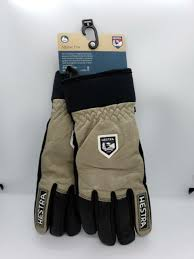 New Hestra Army Leather Wool Terry Gloves Size 7 8 Earth Brown Black Alpine Pro