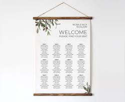 Greenery Wedding Seating Chart Olive Branch Wedding Table