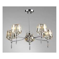 selina 5 light semi flush ceiling fitting in polished chrome finish with crystal glass shades