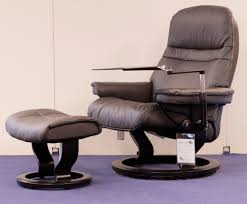 stressless sunrise paloma rock leather recliner chair and ottoman