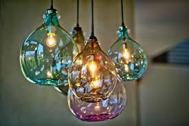 image of colored glass pendant lights