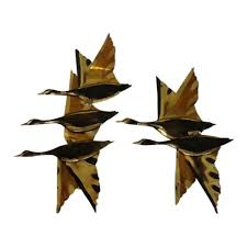 1960s brutalist brass flying geese ducks metal wall art 2 pieces chairish on flying geese wall art metal with 1960s brutalist brass flying geese ducks metal wall art 2 pieces