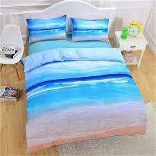 blue sea beach landscape bedding set 3d scenery bed linen duvet cover set with two pillowcase
