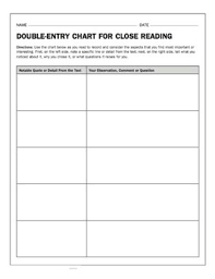 Double Entry Chart Comparing Two Or More Texts Worksheets