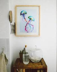 Art for bathroom Incredible Colourful Jellyfish Art In Bathroom Pinterest 33 Best Bathroom Art Images Bathroom Art Poster Prints Bath Room