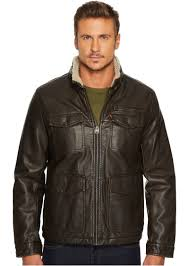 levi s faux leather four pocket sherpa lined military jacket