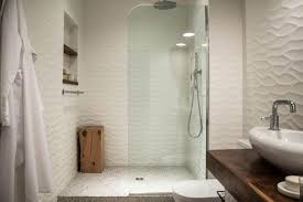Walk In Shower With Rippled Tile Walls And Glass Wall Undulating New Studio  Modish Modern Master
