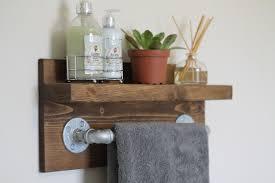 Small Rustic Industrial Towel Rack Bathroom Shelf Rustic