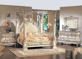 King White Leather Poster Canopy Bed 5pc Traditional Bedroom ...