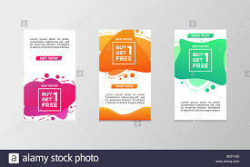 Coupon Discount Buy One Get One Free Sale Banner Set Modern