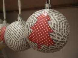 Loving City Living: DIY Paper Mache Christmas Ornaments-I think it would be  neat to use Christmas sheet music & pages from favorite stories.