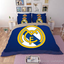 2017 new real madrid pattern bedding set duvet cover pillowcase twin queen optional