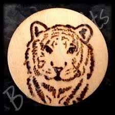 tiger face design wood burned fridge magnet animal lover gift conscious crafties