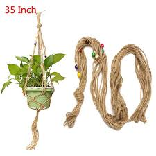 35 inch colour bead flower pot plant hanger macrame jute rope garden decorative cord