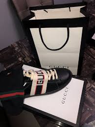 gucci stripe leather sneakers