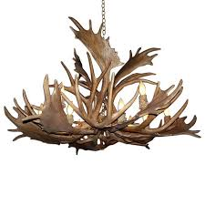 canadian antler design mule deer 52 in 12 light natural brown rustic abstract chandelier