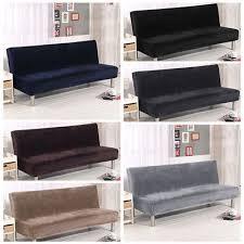 solid plush folding armless sofa bed