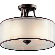 lacey traditional semi flush fitting bronze ceiling light with drum shade