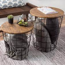 We got the 3 piece coffee table set that came with a coffee table and 2 end tables. Lavish Home Black Brown 2 Piece Nesting Veneer Metal And Wood Round Accent Table Set Hw0200080 The Home Depot