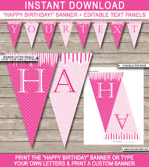 Birthday Banner Printable Princess Party Banner Template Pink