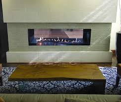 boulevard curved burner see through vent free linear fireplace