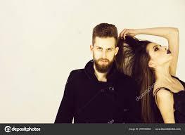 couple of bearded man woman in black with fashionable makeup jpg 1600x1167 black stock beard makeup